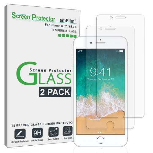 amFilm iPhone 8, 7, 6S, 6 Screen Protector Glass 4.7 inch (2-Pack)