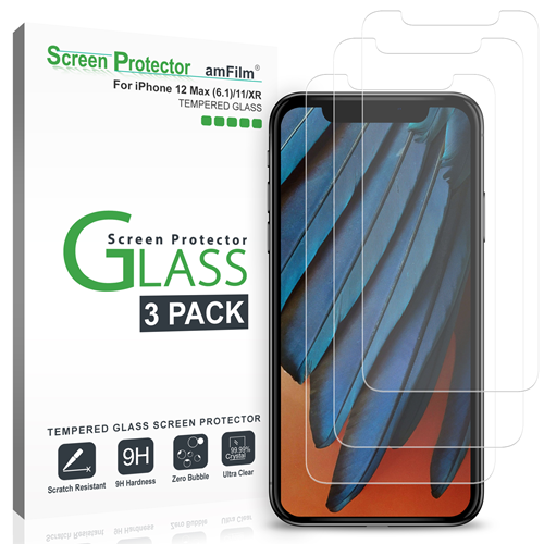 amFilm iPhone 12 / 12 Pro / 11 / XR Screen Protector Glass (3-Pack)