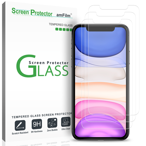 amFilm iPhone 11 & XR Screen Protector Glass (3-Pack)