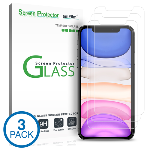 amFilm iPhone 11 & iPhone XR Screen Protector Glass (3-Pack)